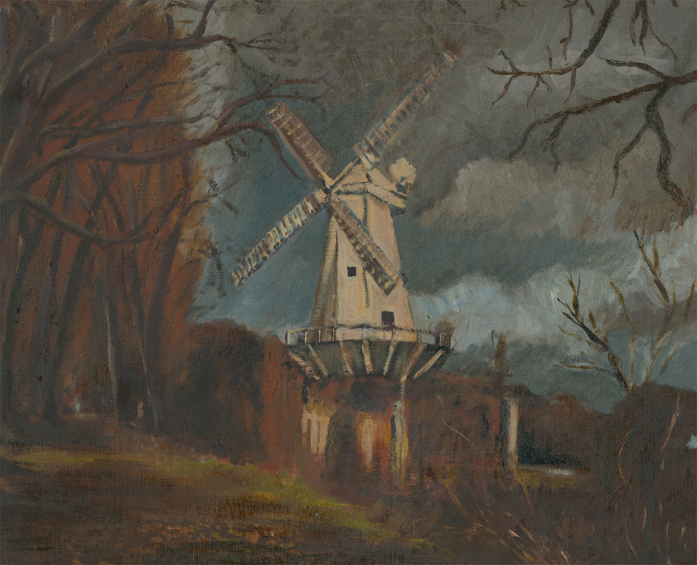 20th Century Oil - White Windmill