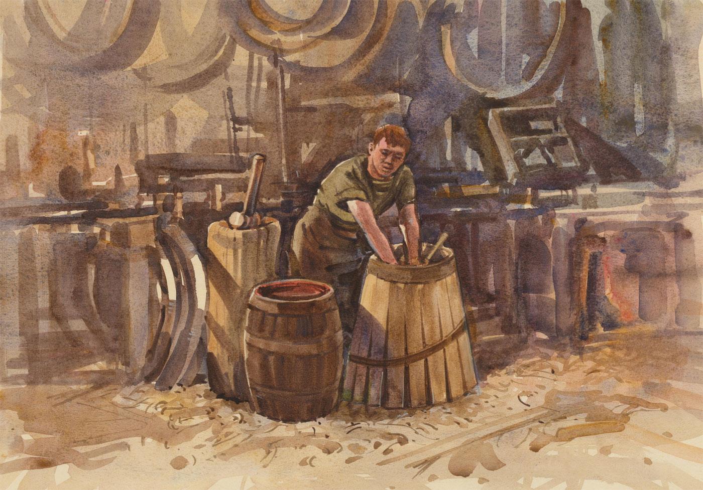 Clifford H. Thompson (1926-2017) - 1996 Watercolour, The Blacksmith