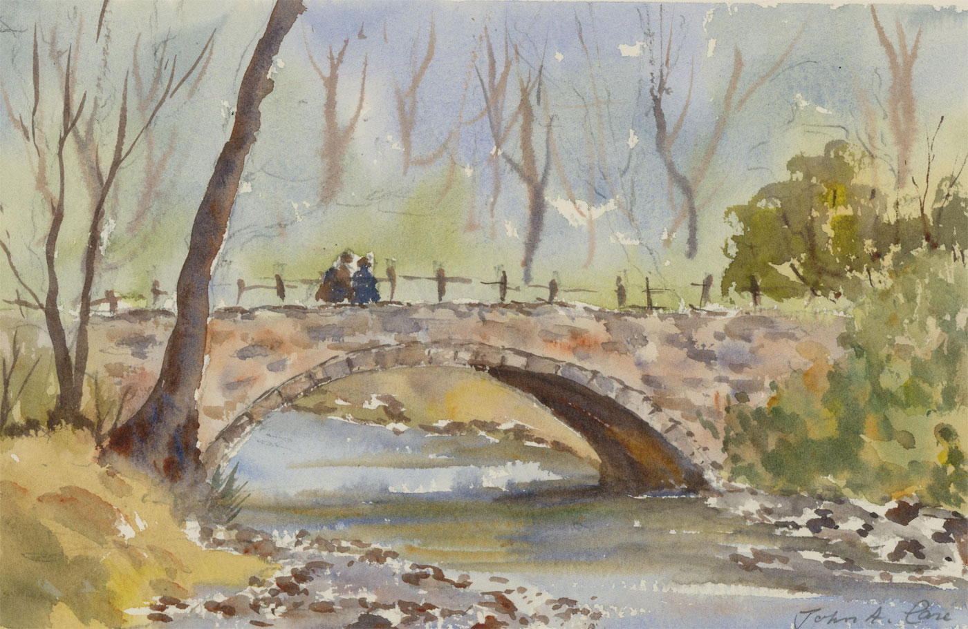 John A. Case - Set of Two Contemporary Studies, Meeting on The Bridge
