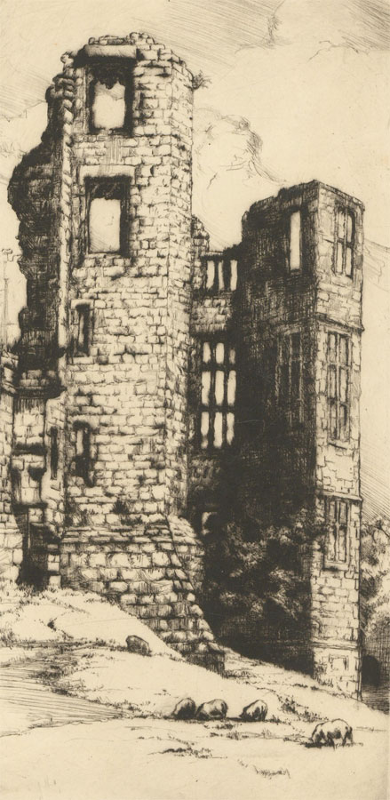 S.L. Scott - Early 20th Century Etching, Kenilworth Castle