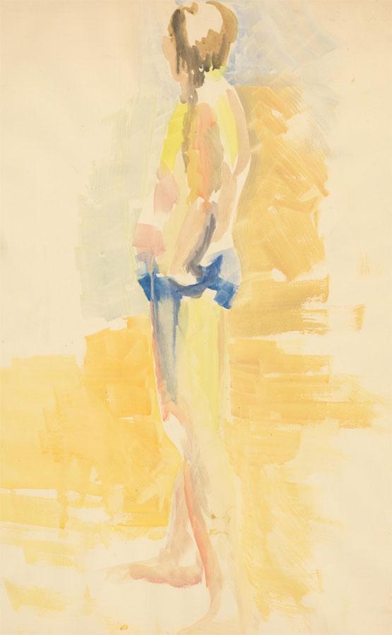 20th Century Watercolour - Nude in Yellow Interior