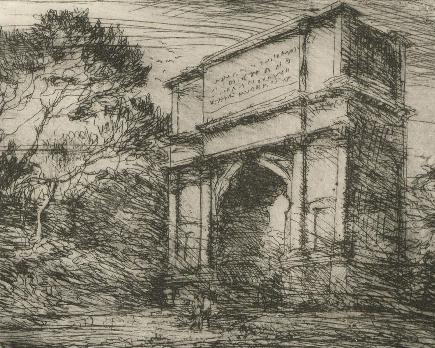 Ronald Olley (b.1923) - c. 2000 Etching, Arch of Titus, Rome