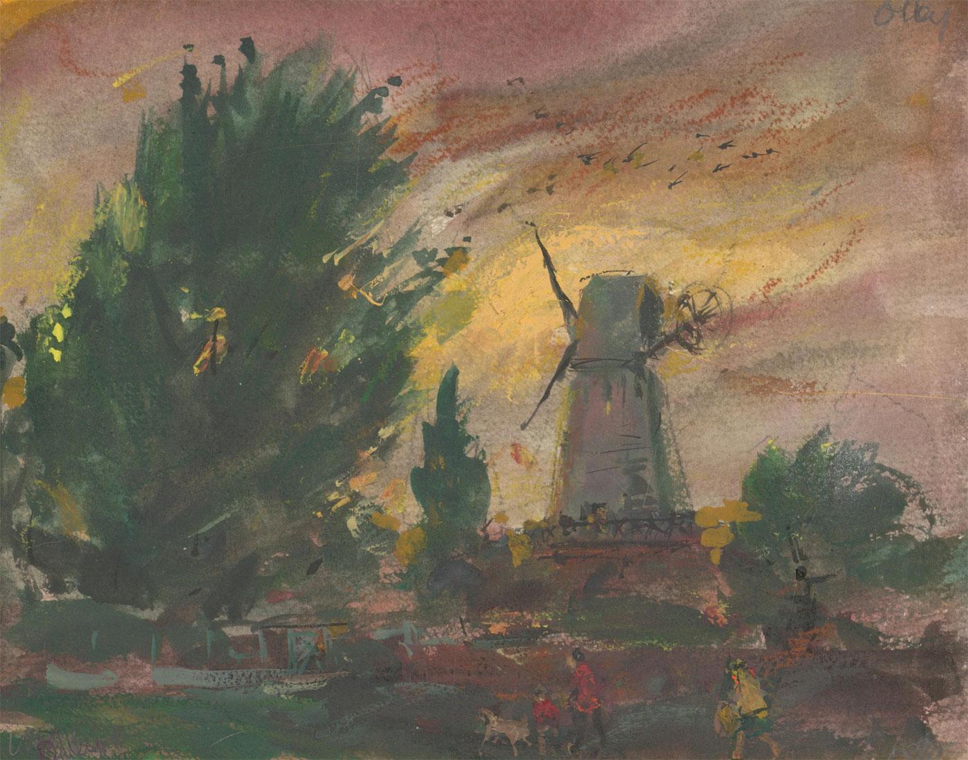 Ronald Olley (b.1923) - Signed c. 2000 Acrylic, Dramatic Windmill Study