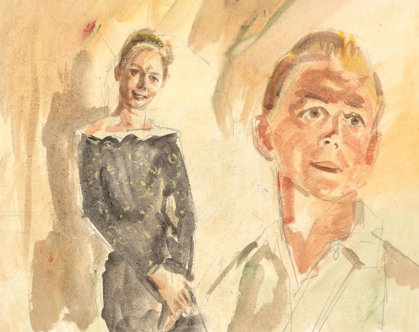 Ronald Olley (b.1923) - c. 2000 Watercolour, Portrait Studies