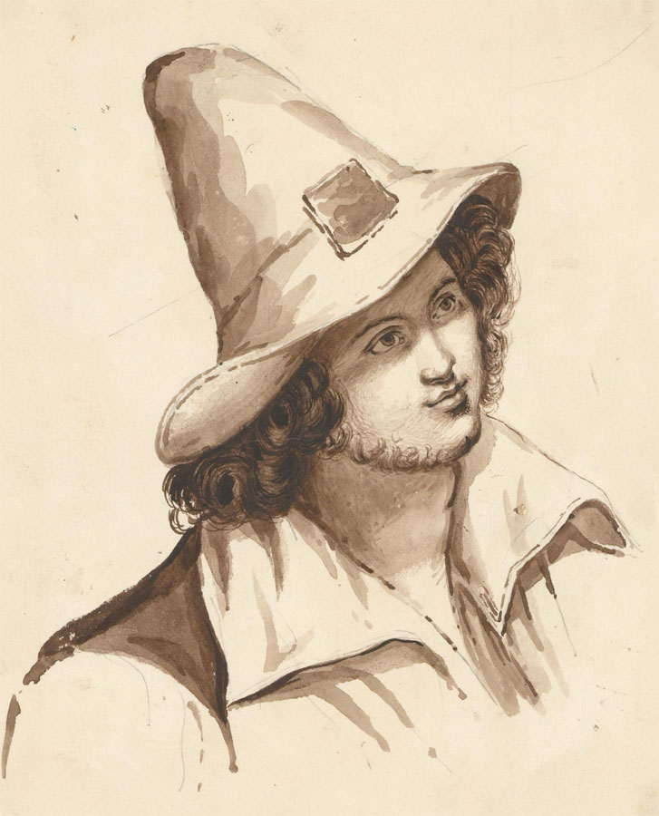 Late 19th Century Pen and Ink Drawing - Portrait of a Peasant Man