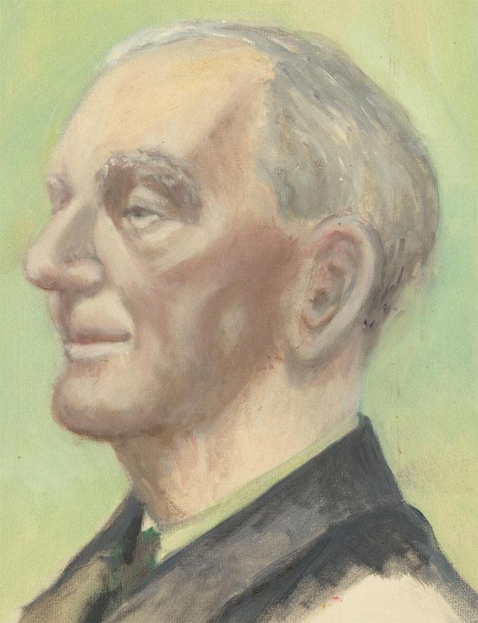 20th Century Oil - Portrait of a Smiling Older Gentleman