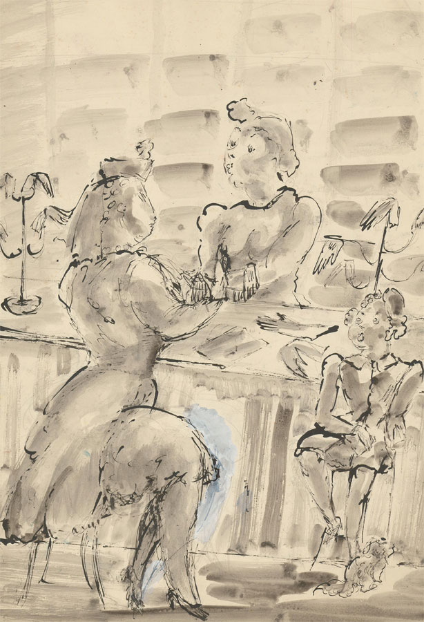 Vera Cuningham (1897-1955) - Pen and Ink Drawing, Store Scene with Figures
