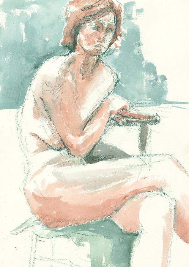 Contemporary Watercolour - Female Nude in Green