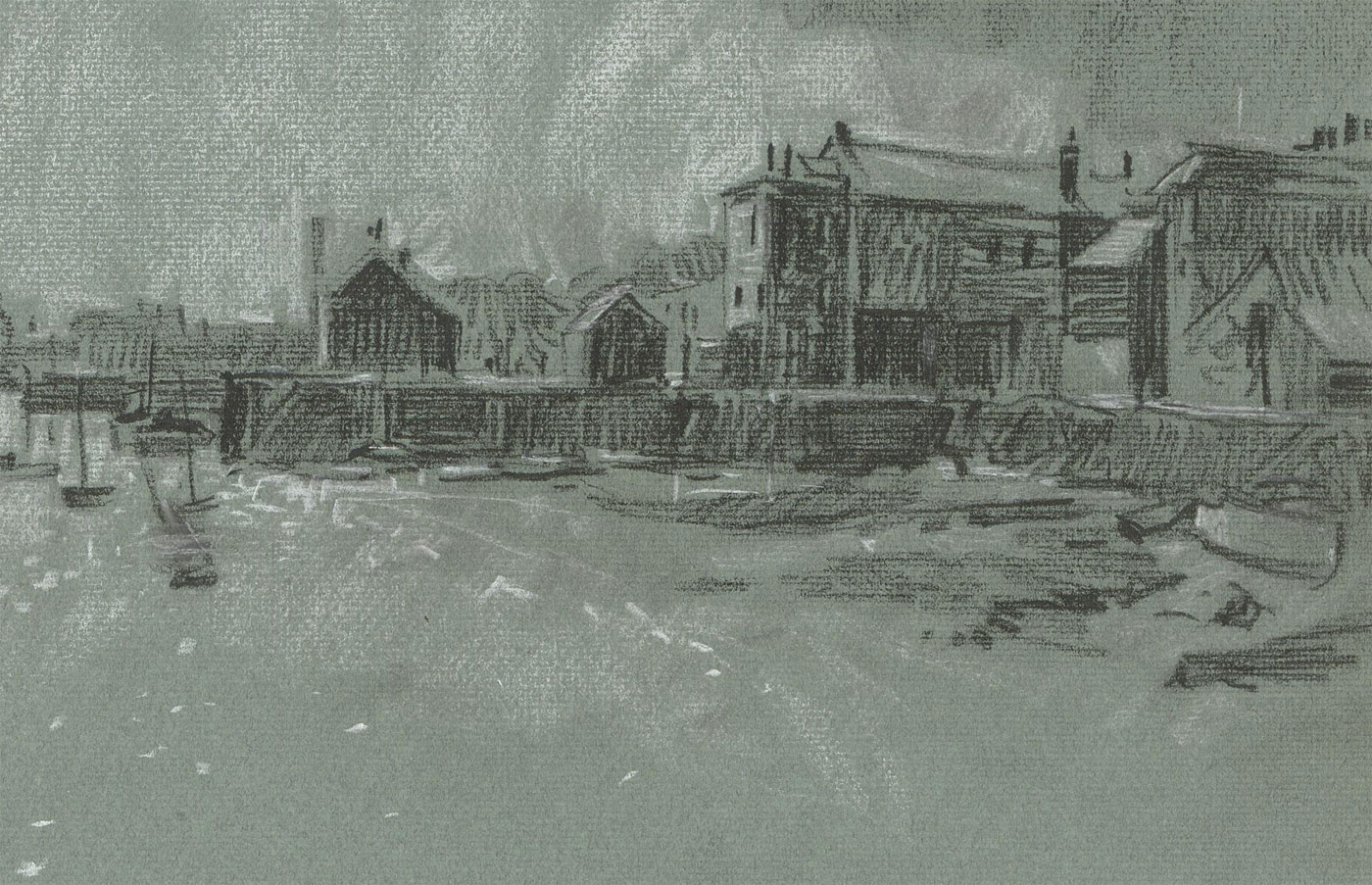 Malcolm Rogers - 1971 Charcoal Drawing, Falmouth