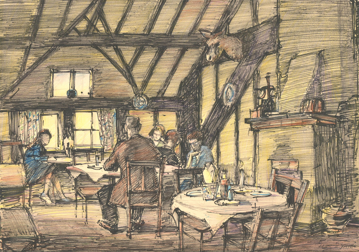 Alan Yates ARBSA - Mid 20th Century Pen and Ink Drawing, Refreshments