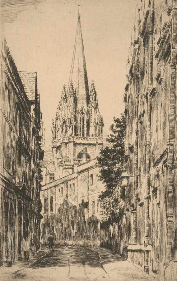 Early 20th Century Etching - St Mary the Virgin, Oxford