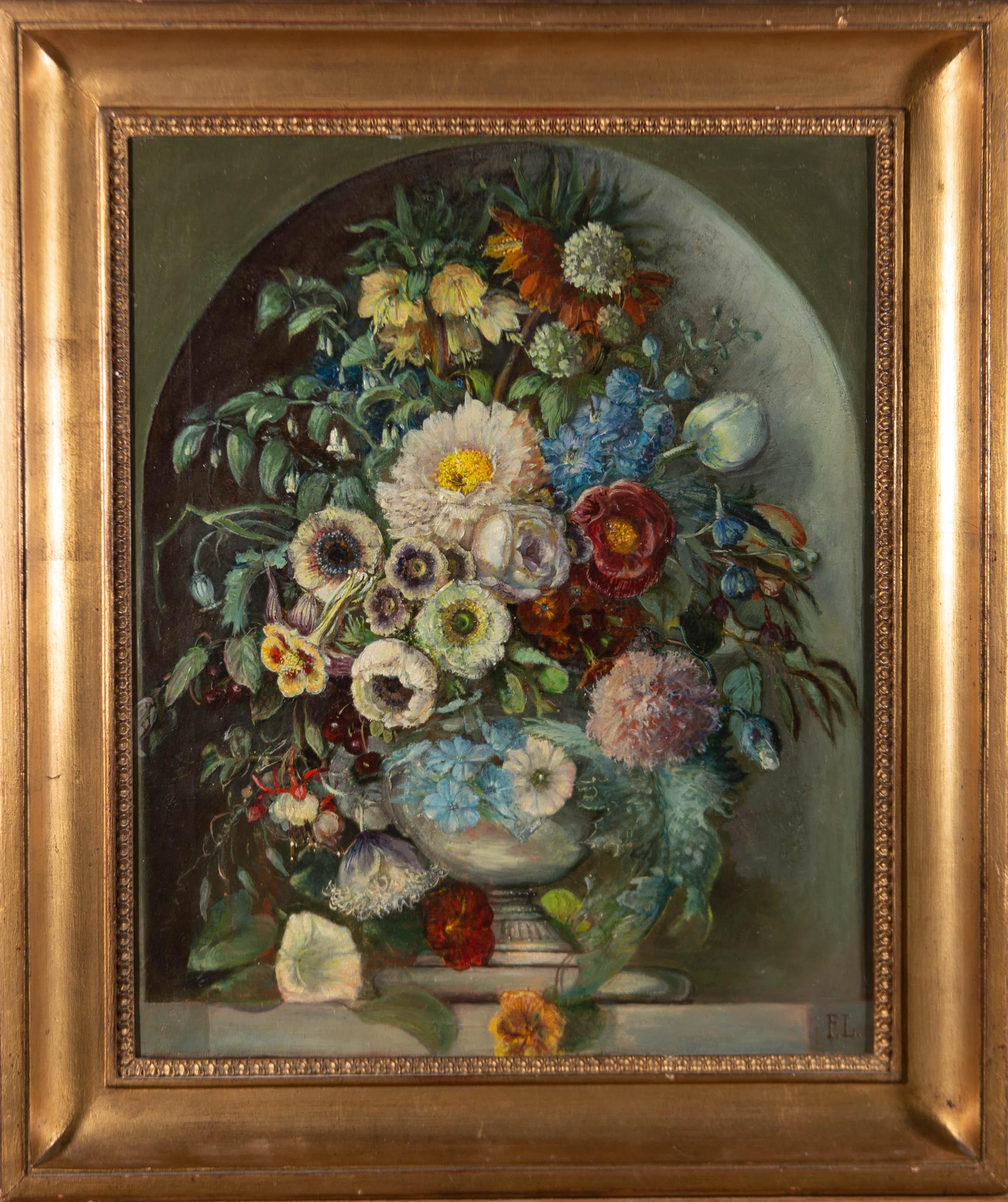 F.L - Fine Framed Late 19th Century Oil, Ornate Bouquet