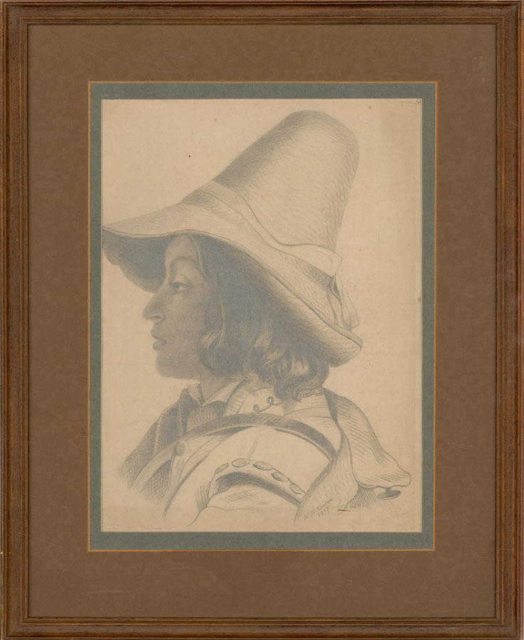 M.W. Sanders - 1907 Graphite Drawing, Figure with Long Hat