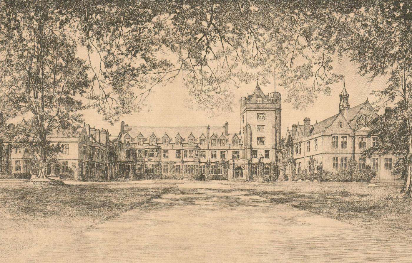 Robert Creswell Boak ARCA (1875-1949) - Etching, Campbell College, Belfast