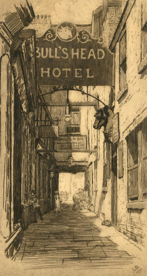 Leonard Brewer - Signed 1910 Etching, The Bull's Head Hotel