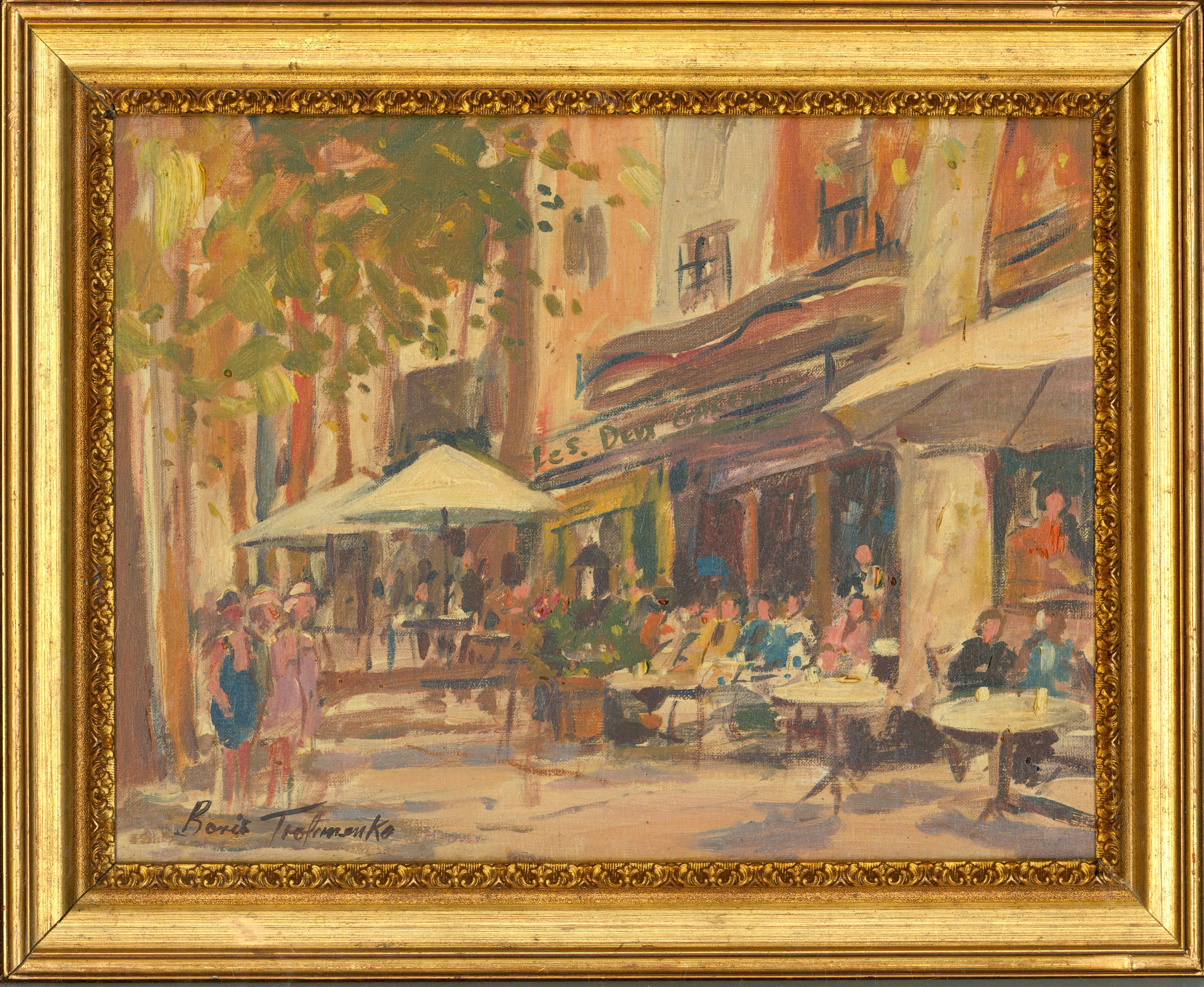 Boris Trofimenko - Signed & Framed Early 20th Century Oil, French Cafes