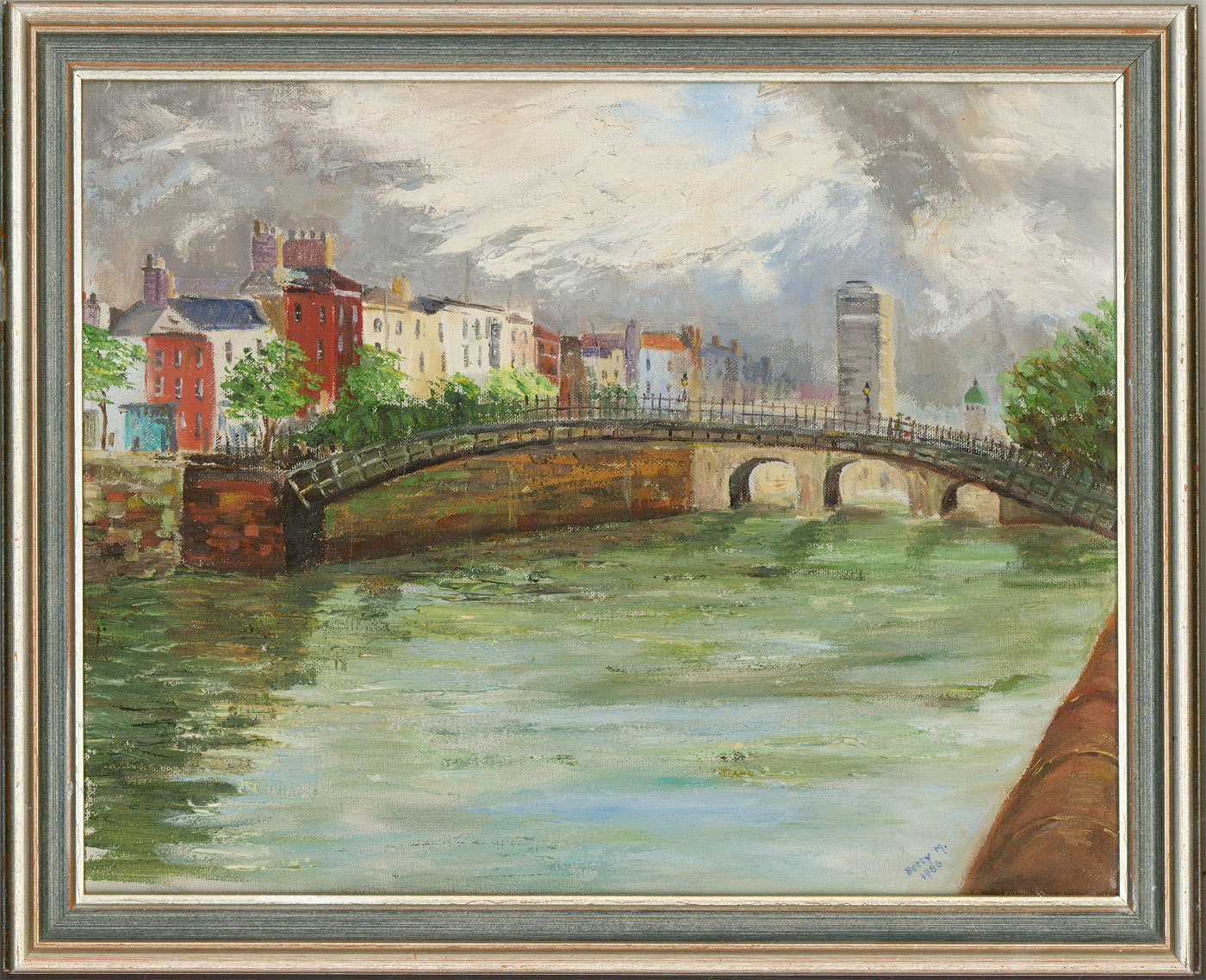 Berty M. - Signed & Framed 1986 Acrylic, River Liffey Bridge