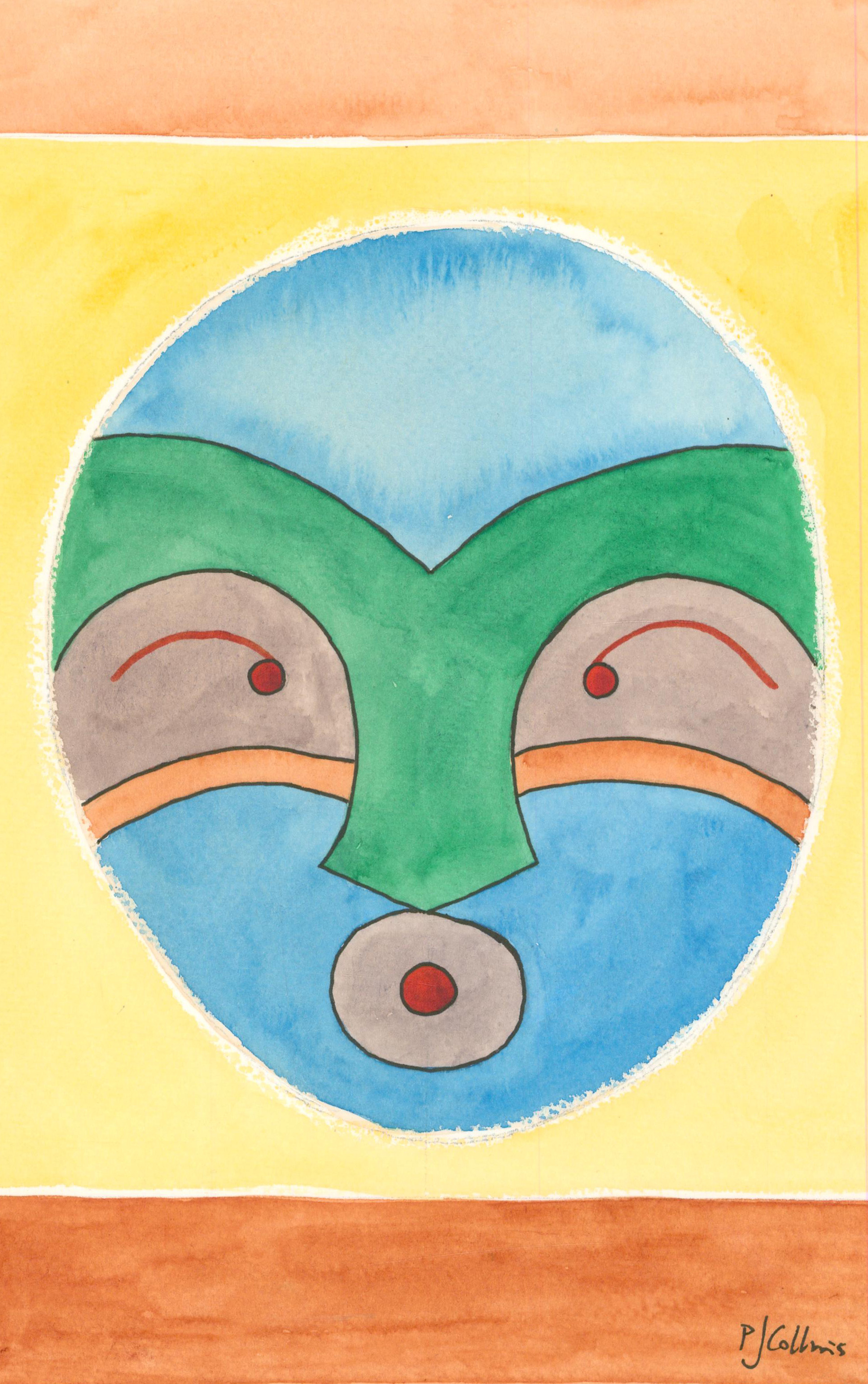 P.J. Collins (b.1954) - Contemporary Watercolour, Menacing Head XIII
