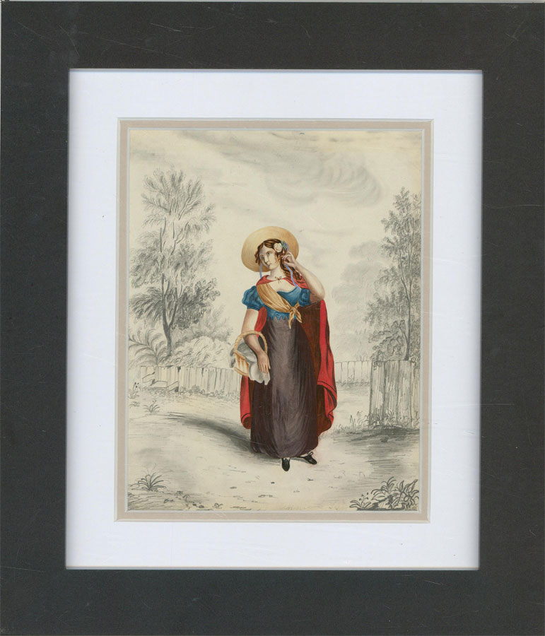 Framed Early 19th Century Watercolour - Regency Lady with Red Cloak