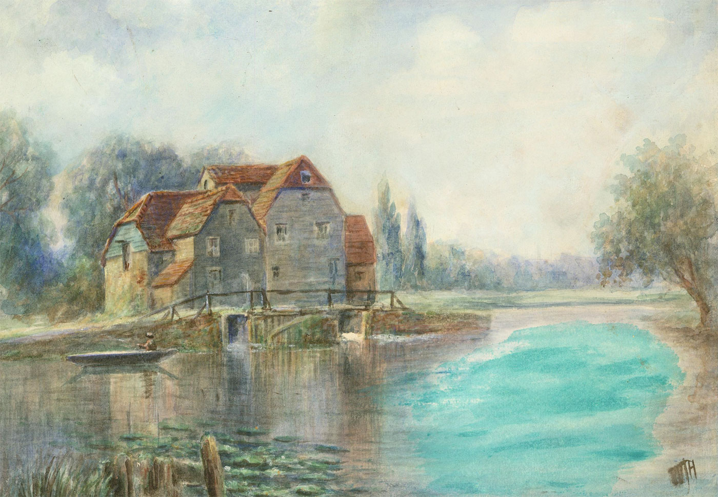 W. T. H. - Signed Early 20th Century Watercolour, the Cottage on the River