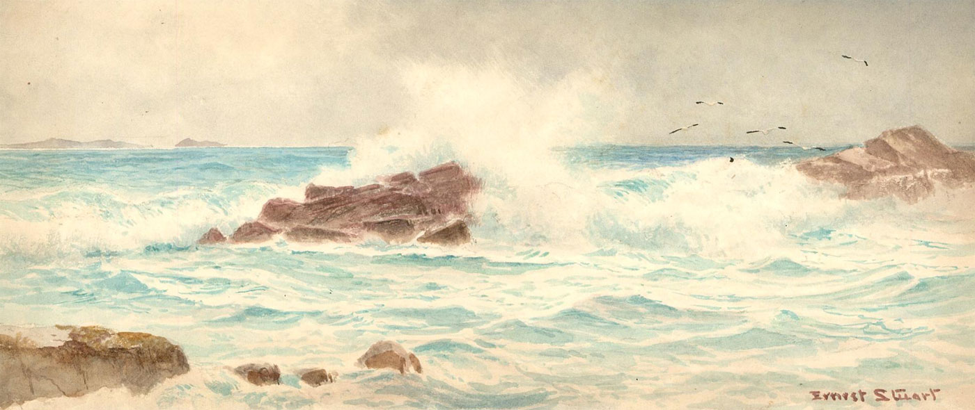 Ernest Stuart (fl.1889-1915) - Signed Early 20th Century Watercolour, Frosty Sea