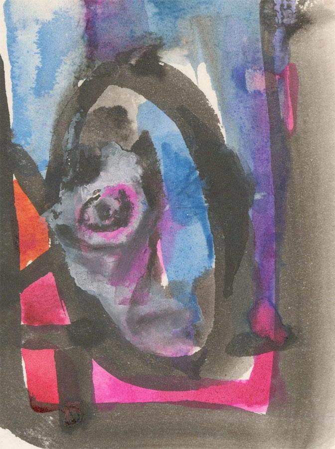 Mircea Marosin (1921-2007) - 20th Century Watercolour, Abstracted Face