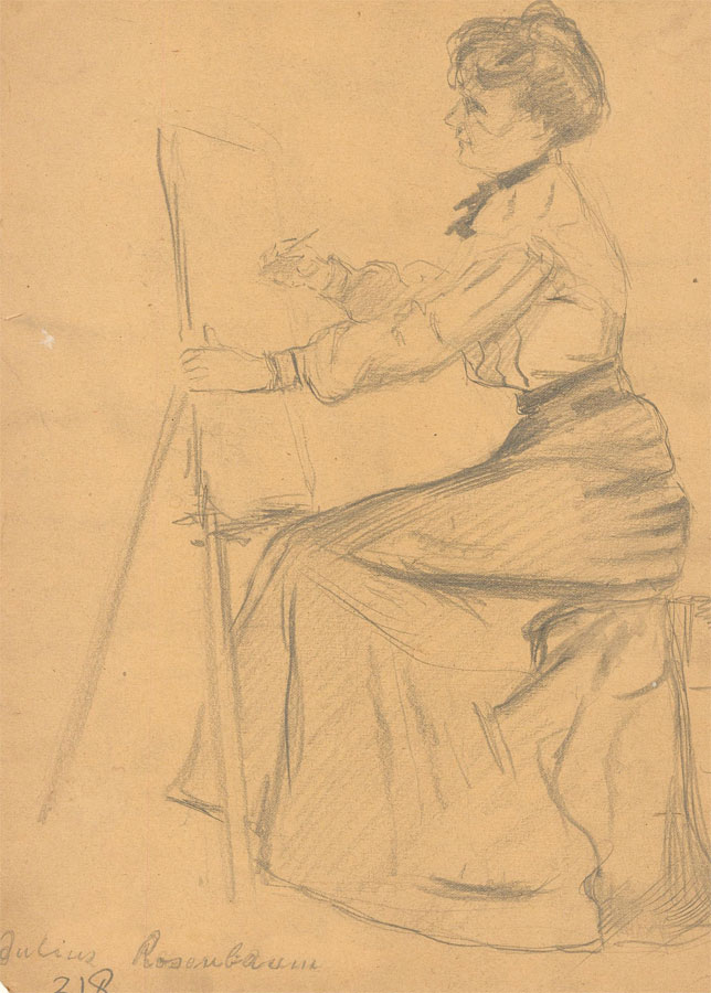Early 20th Century Graphite Drawing - Woman Drawing