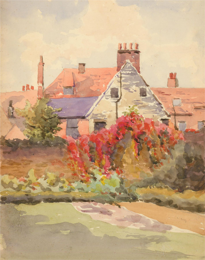 Amy K. Selby (fl.1892-1926) - Signed 1912 Watercolour, Colchester Soldier's Home
