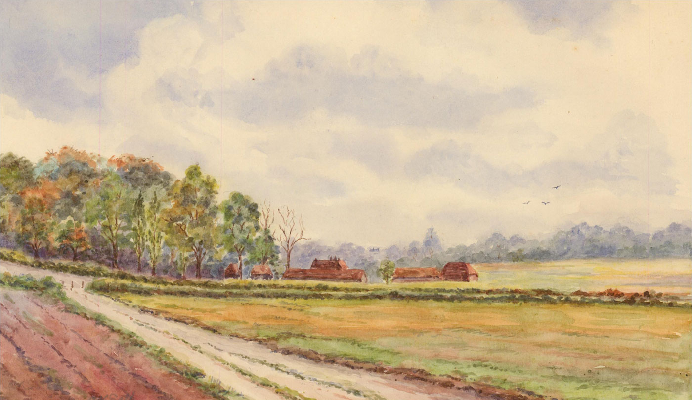 Amy K. Selby (fl.1892-1926) - Signed 1887 Watercolour, Field Path