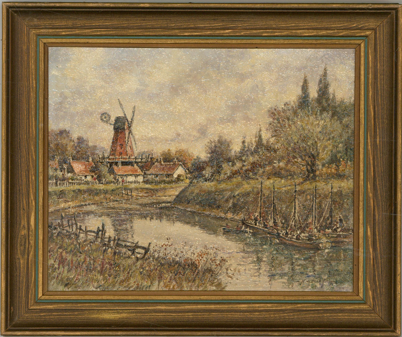 Norman Olley - Signed & Framed 1974 Oil, River Landscape with Windmill
