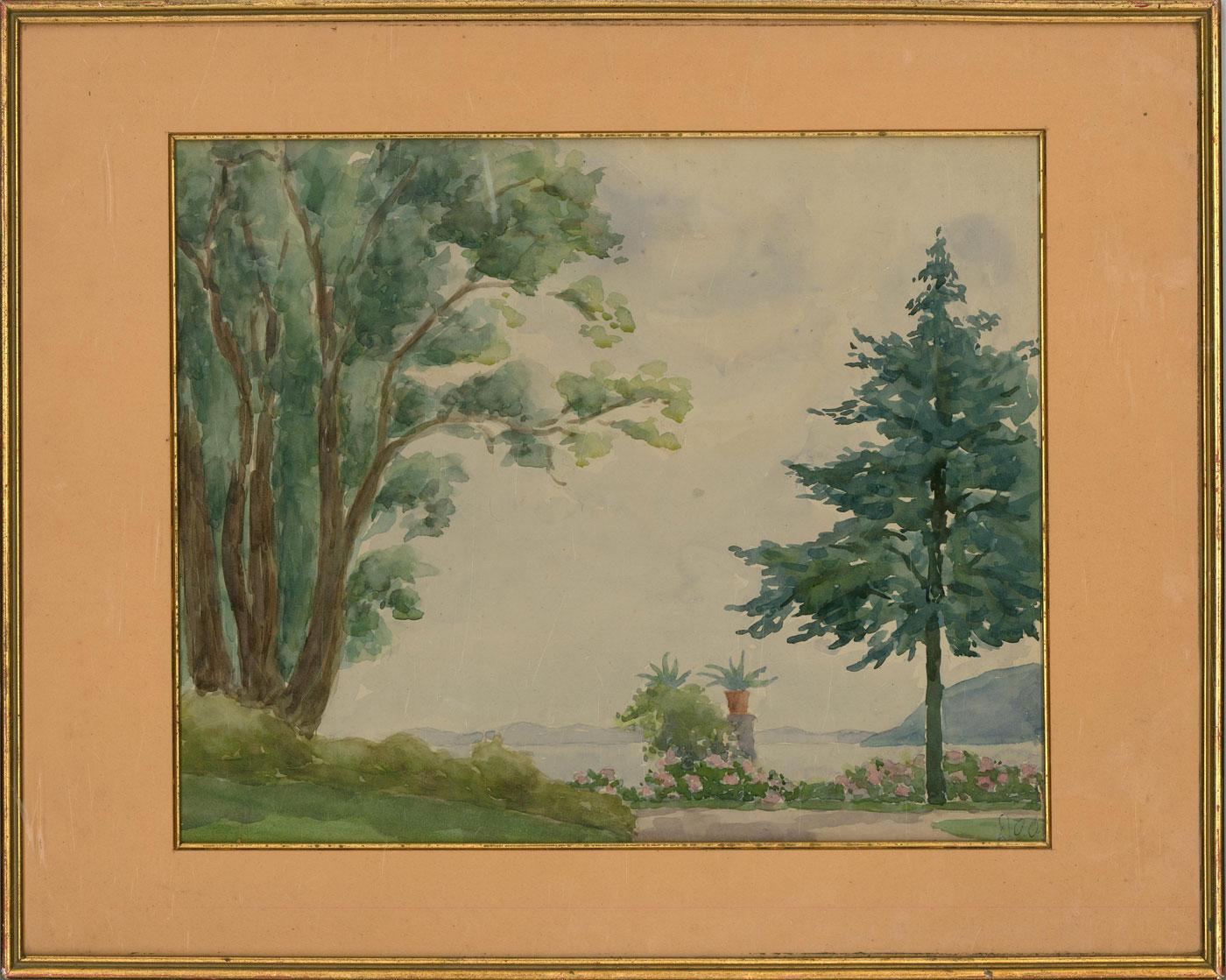 Mid 20th Century Watercolour - Coastal Garden