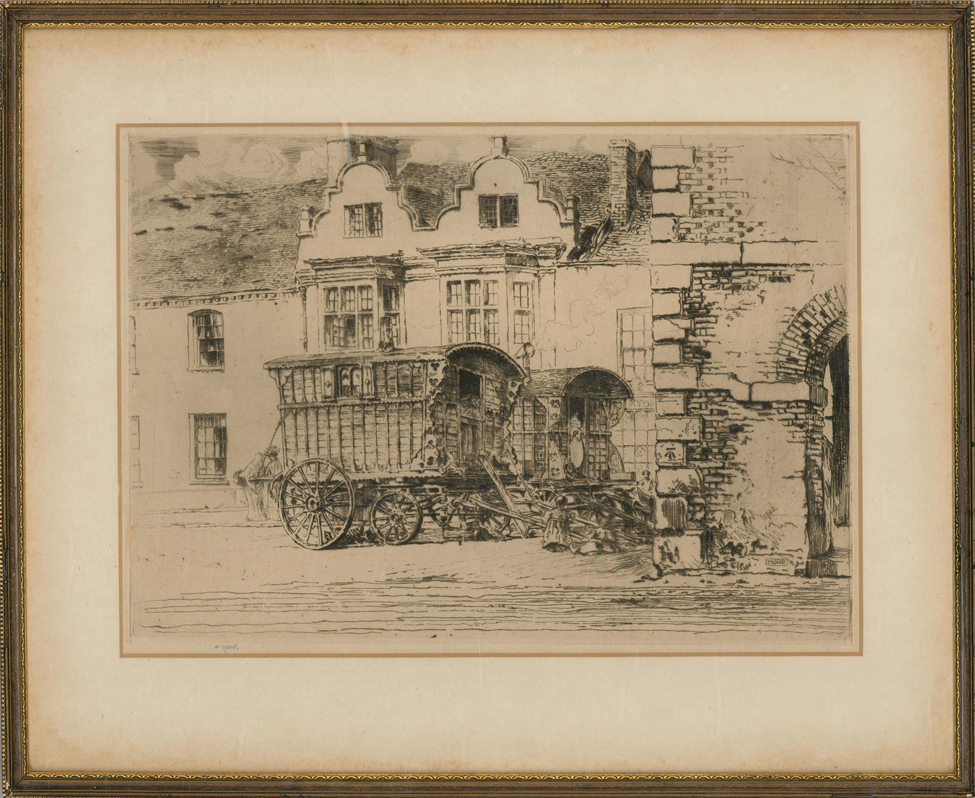 William Monk (1863-1937) - Framed 19th Century Etching, Traveller's Caravan