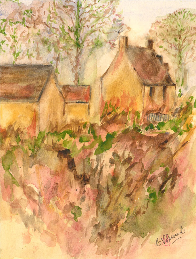 C.V. Andrews - 1982 Watercolour, Country Cottage