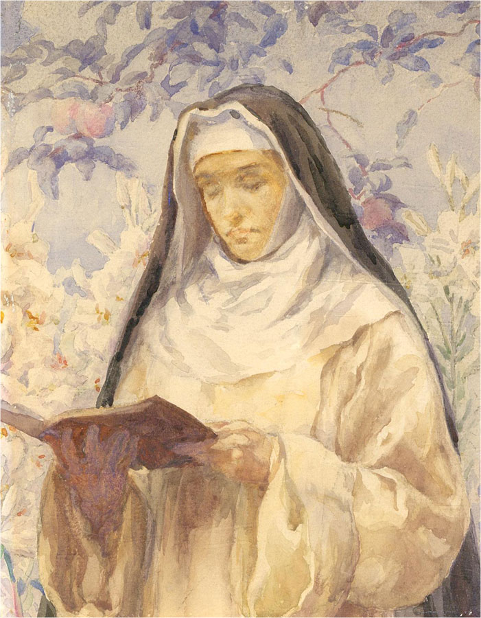 Studio of Eleanor Fortescue-Brickdale (1872-1945) - c.1911 Watercolour, The Nun