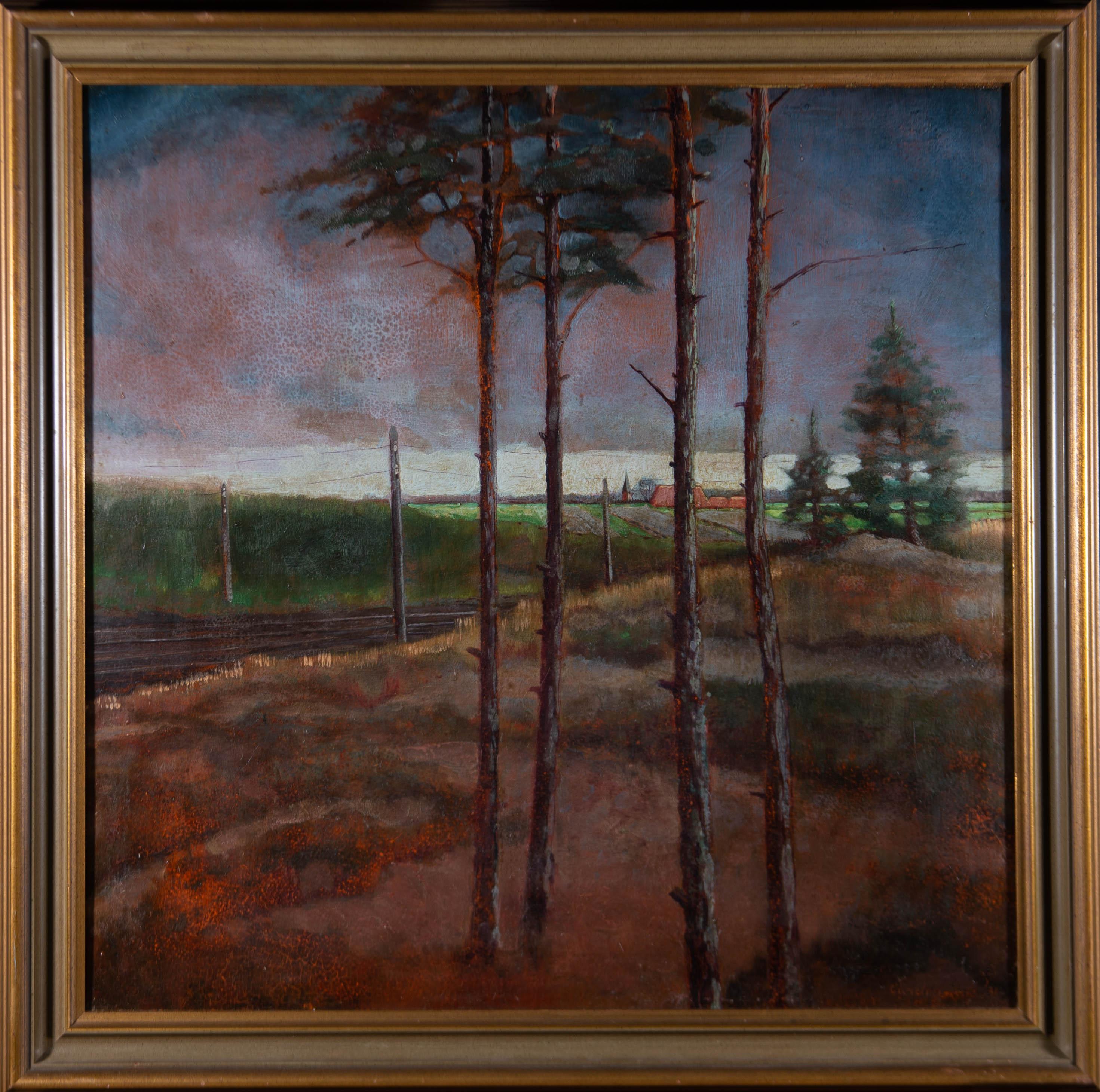 Emil Cardinaux (1877-1936) - Fine Framed 1931 Oil, The Train Tracks