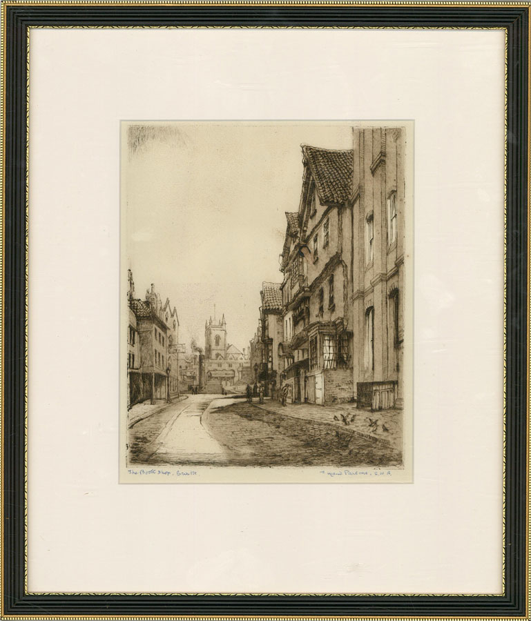 Ada Maude Parsons S.W.A - Signed & Framed Mid 20th Century Etching, The Bookshop