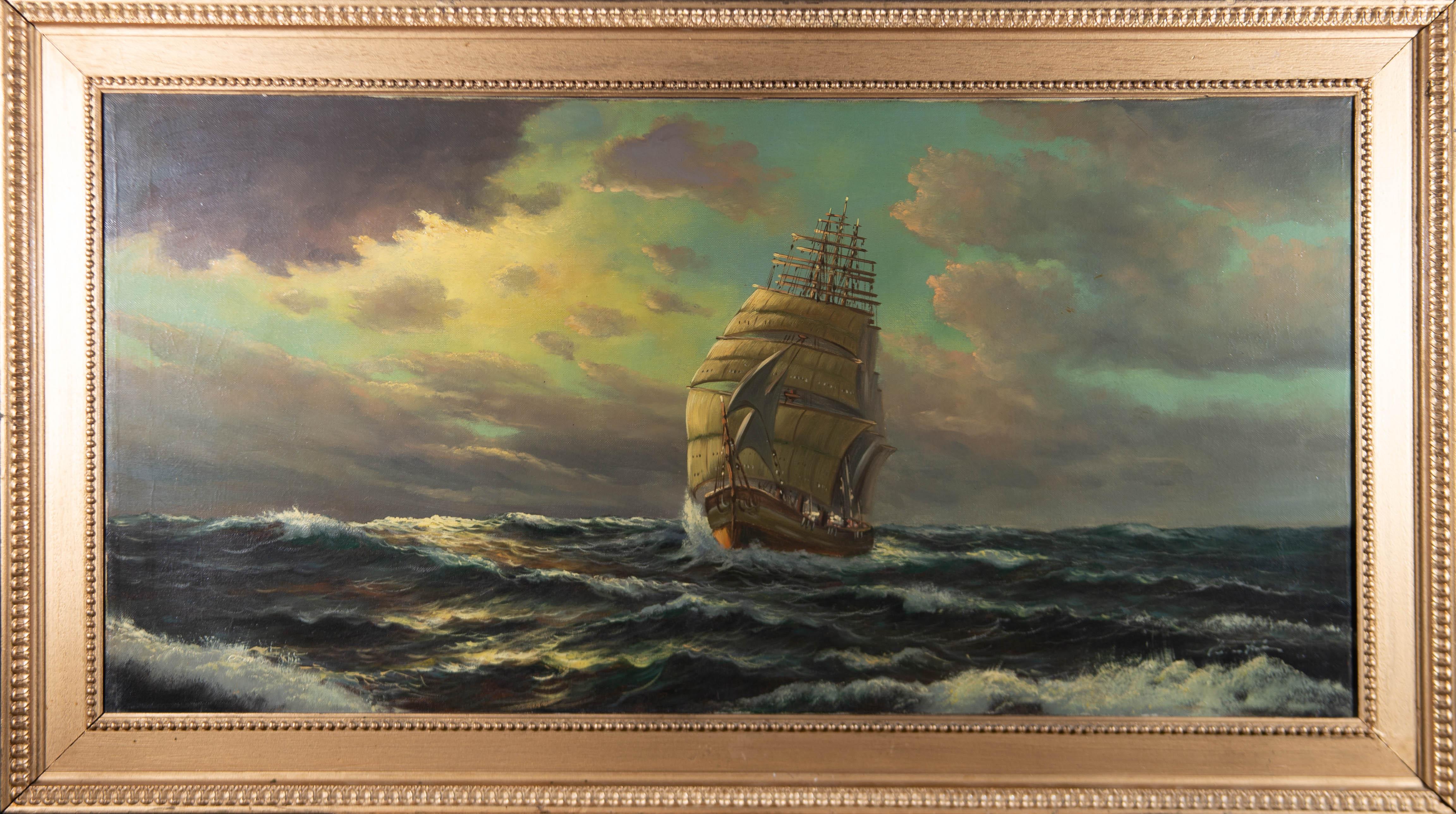 Early 20th Century Oil - Choppy Seas At Sundown