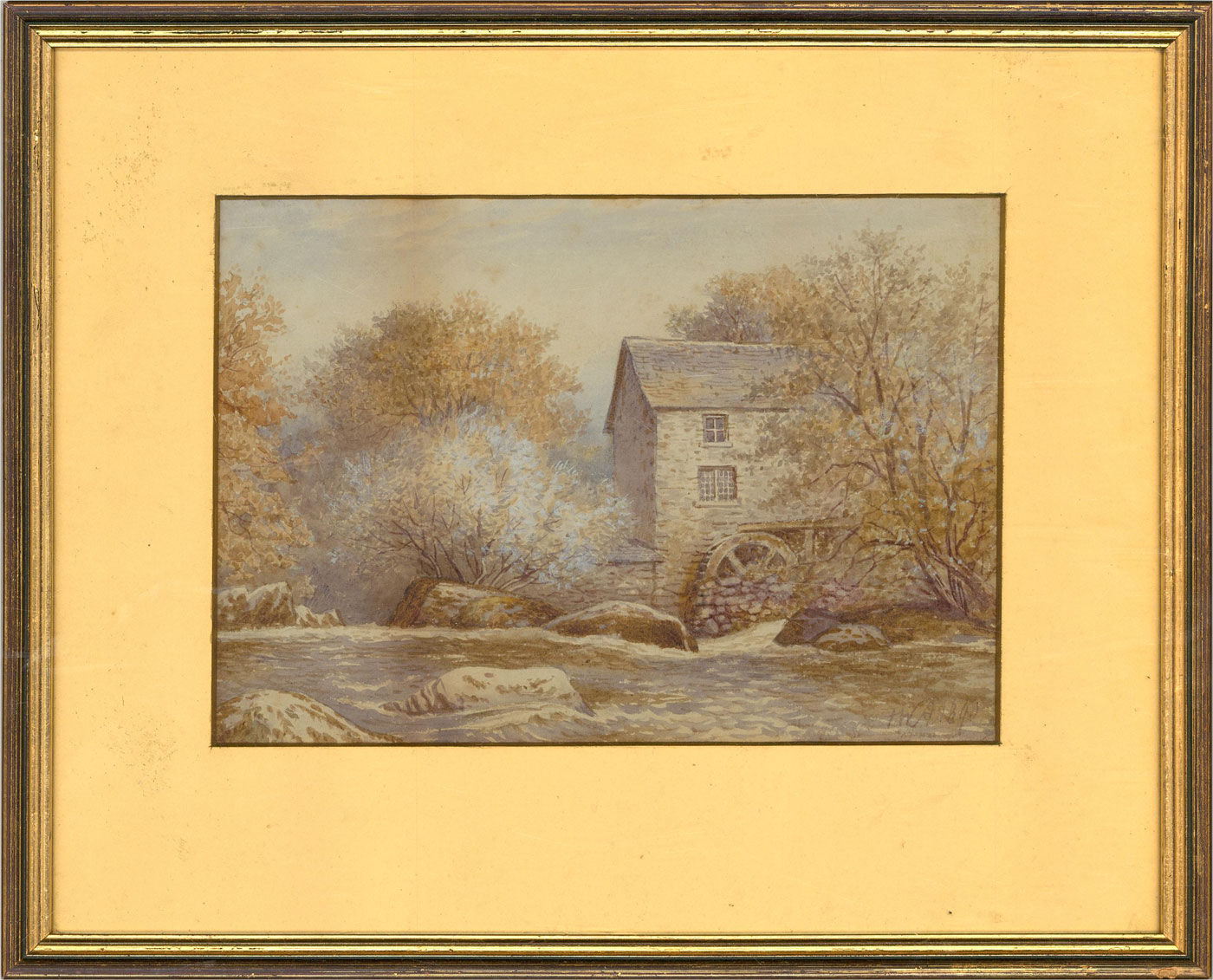 F.W. Archer - 1890 Watercolour, Landscape View with Watermill