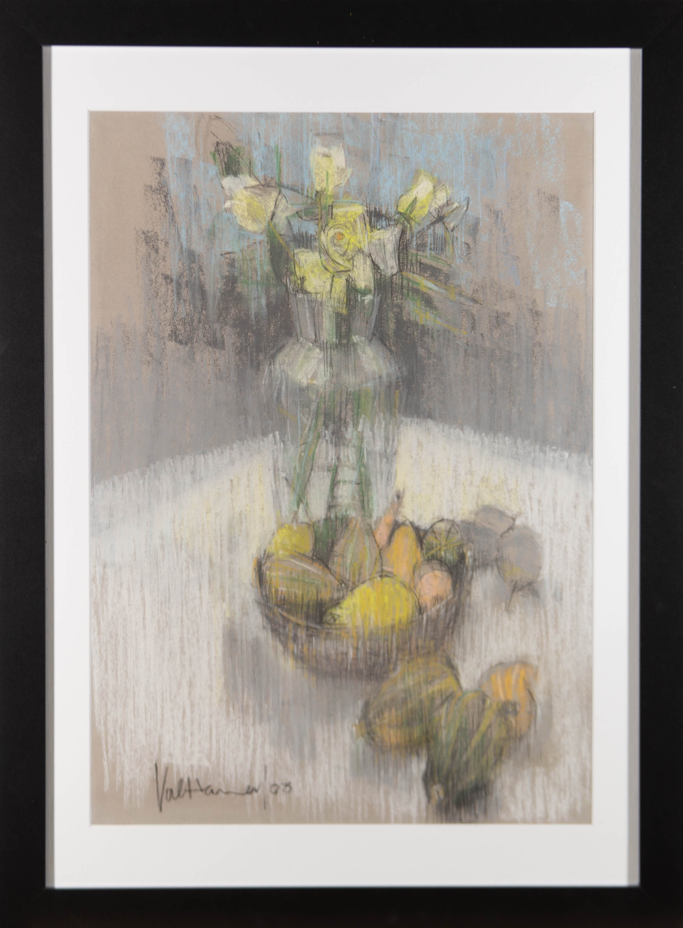 Val Hamer - 2003 Pastel, Yellow Roses and Fruit