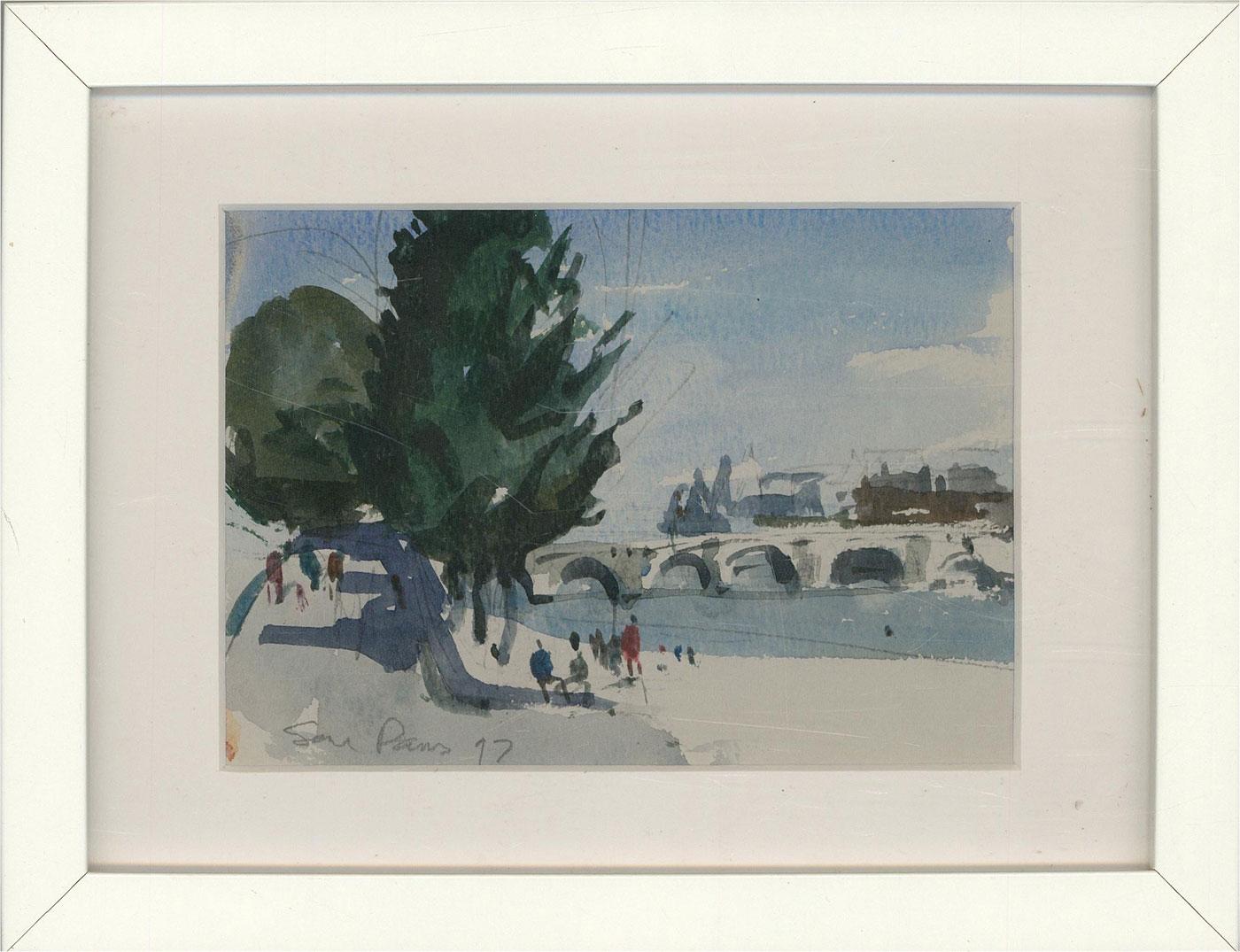 Peter Collins ARCA - Framed 1997 Watercolour, Impressionistic Paris