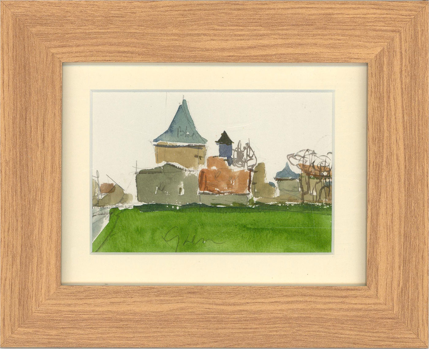 Peter Collins ARCA - Framed Contemporary Watercolour, The Village Green