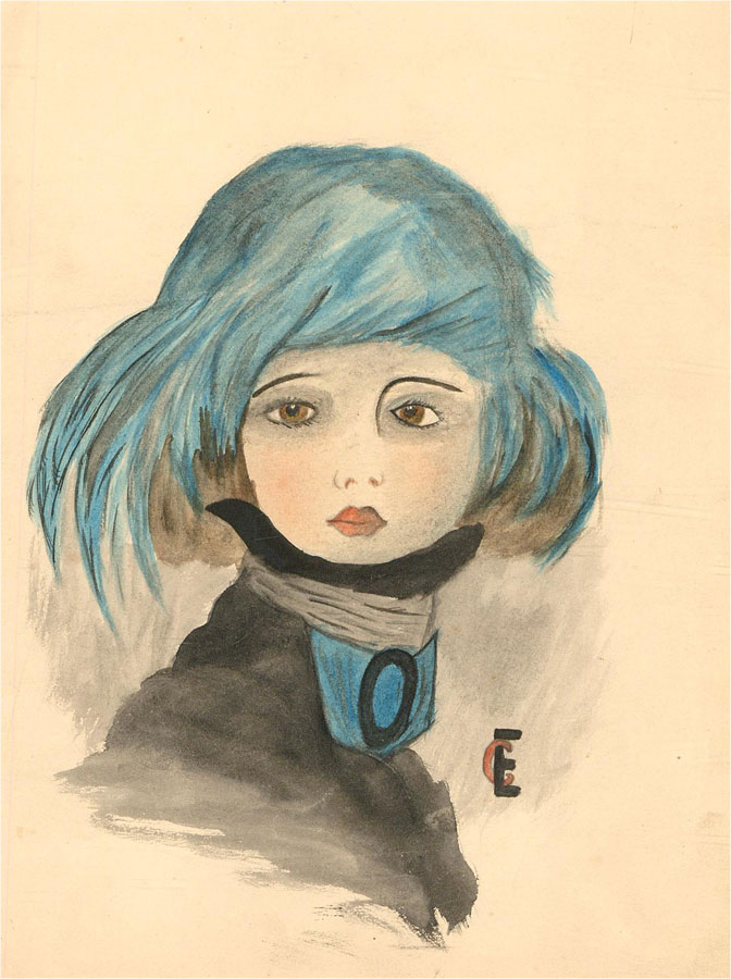 Ethel Esme Church - Early 20th Century Watercolour, Figure with Blue Headpiece