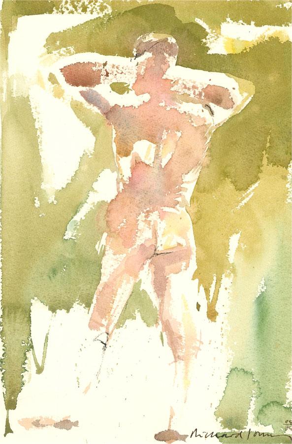 Richard J.S. Young - 2004 Watercolour, Standing Nude in Green II