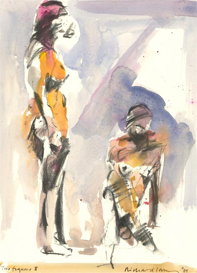Richard J.S. Young - 2009 Watercolour, Two Figures II