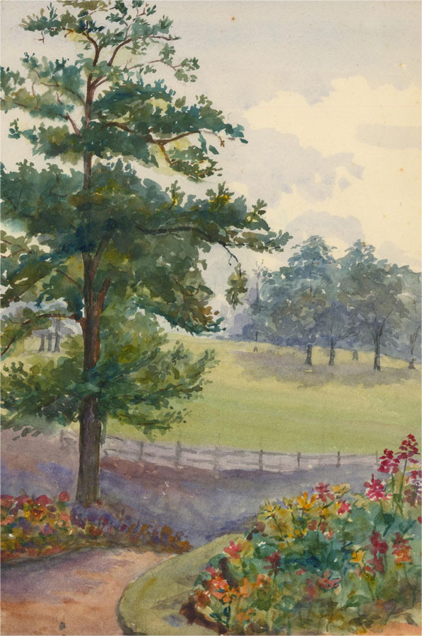 Amy K. Selby (fl.1892-1926) - Signed 1902 Watercolour, Kent Gardens