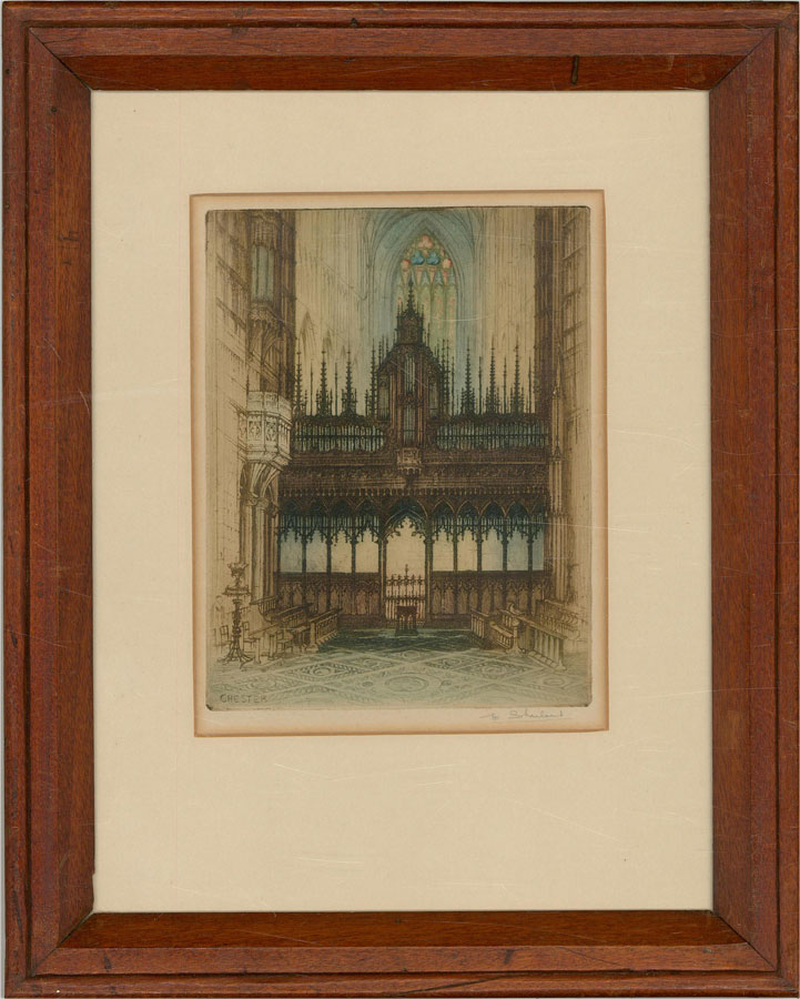 Edward Sharland (1884-1967) - Early 20th Century Etching, Rood Screen, Chester