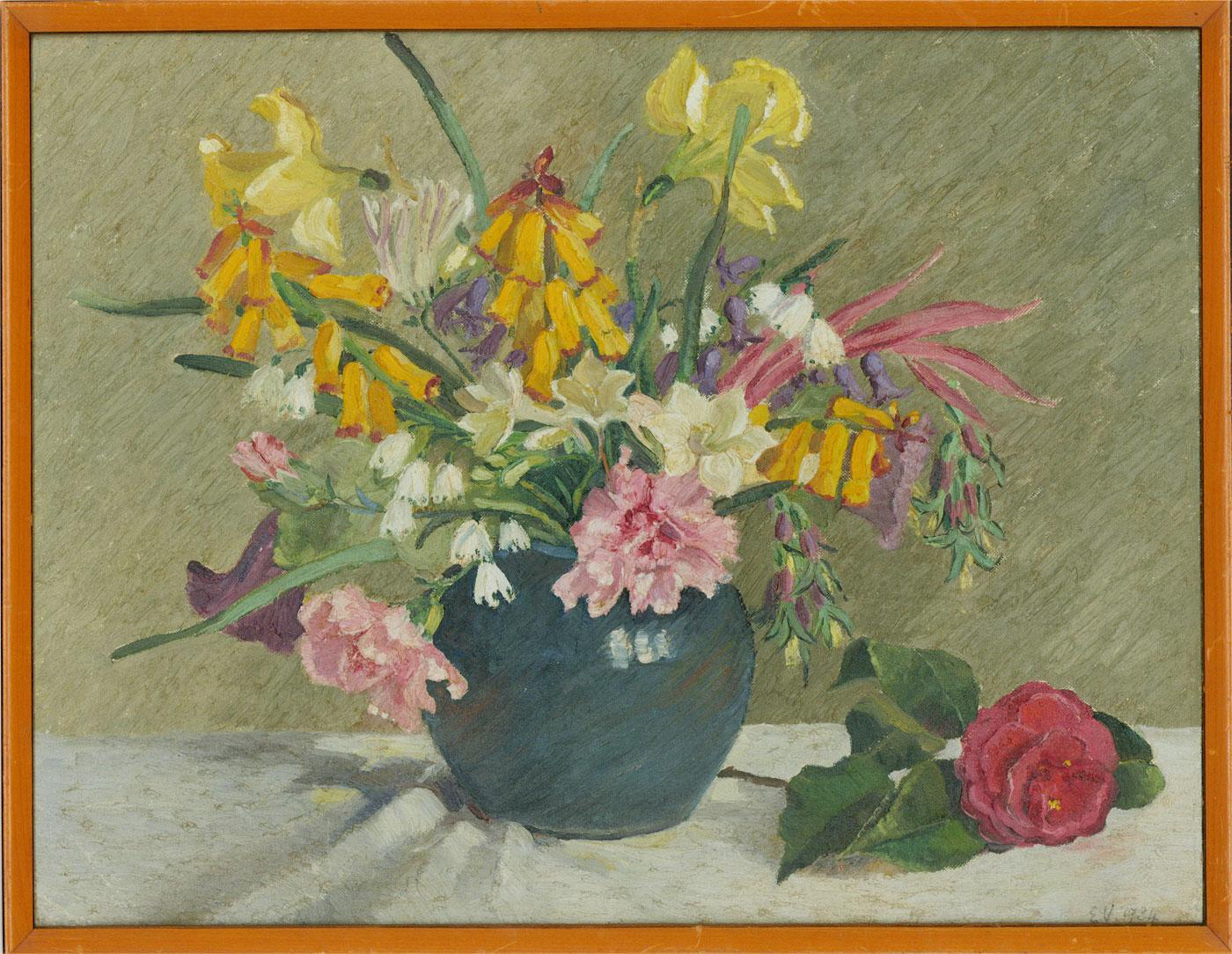 E.V. - 1934 Oil, Flowers in Blue Vase