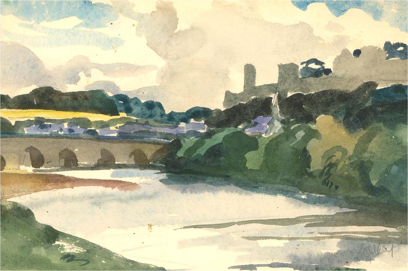 Ronald Olley (b.1923) - Mid 20th Century Watercolour, Arch Bridge