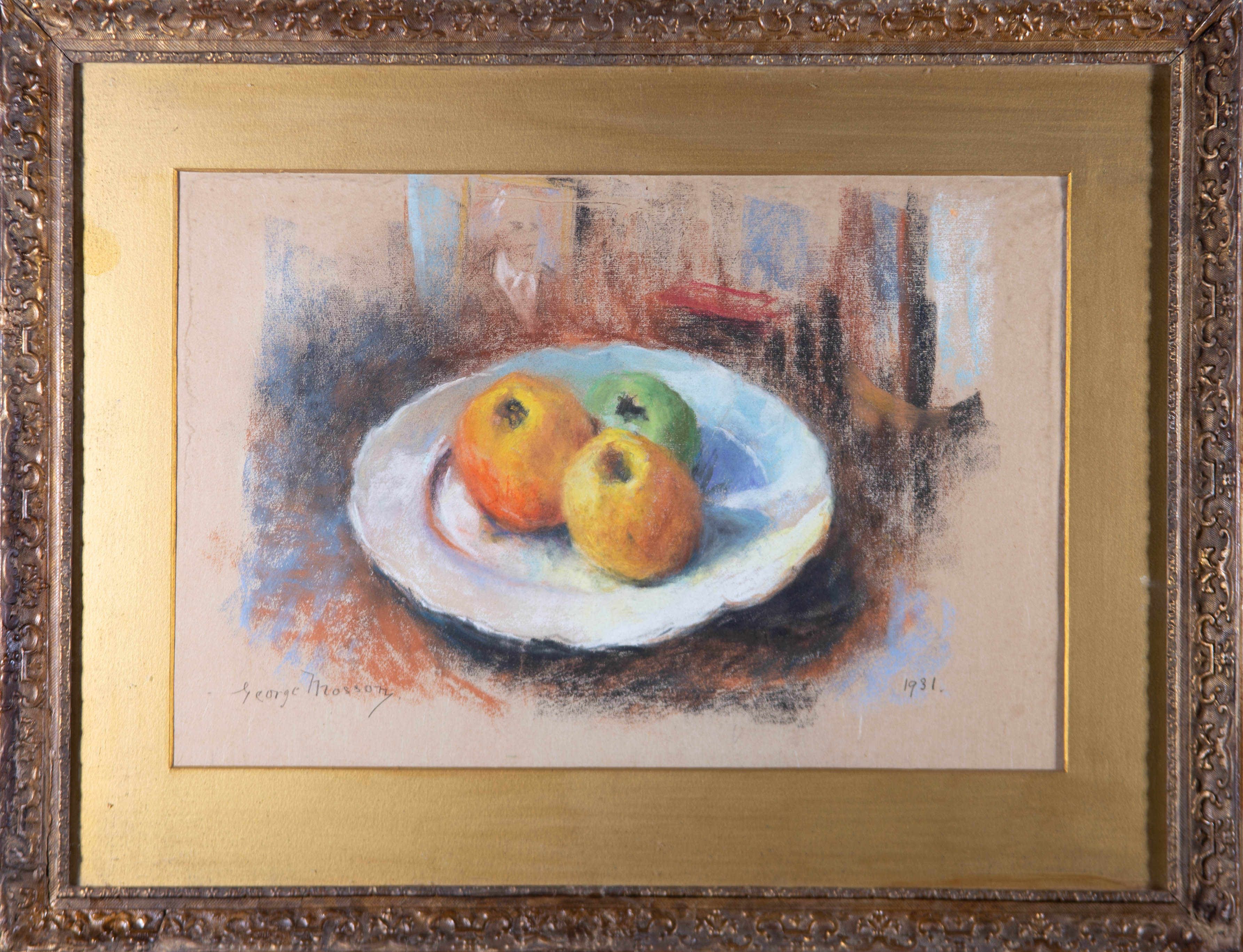 George Mosson (1851-1933) - 1931 Pastel, Still Life with Three Apples
