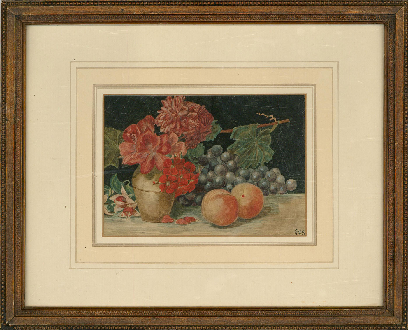 Early 20th Century Watercolour - Late Summer Flowers And Fruit